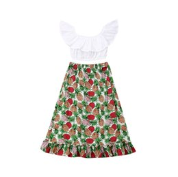 2-7Y Sommer Kinder Baby schulterfrei Crop Tops Hohe Taille Print Langen Rock 2 STÜCKE Outfits Boho Holiday Party Kleidung Set