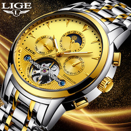 Luxury Mens Yellow Watches Australia - New Lige Mens Watches Top Luxury Brands Gold Mechanical Watch Mens Sports Waterproof Full Steel Business Watch Relogio Masculino Y19052004