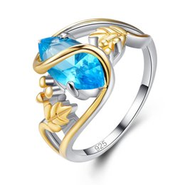 blue stone gold filled ring Canada - Horse Eye Gold Rings Blue Stone Filled Leaf Ring Engagement Wedding Silver Marquise Rings For Women