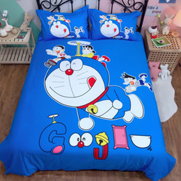$enCountryForm.capitalKeyWord NZ - Anime Bedding Set Doraemon Kids boys Pure cotton quilt cover twin queen king cute Duvet Cover flat Sheet students bedclothes