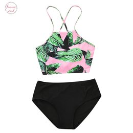 high neck bikini tops Canada - Top Band 2020 Printed Bikini Swimsuit Women Swimwear High Neck Bikini Set Beachwear Bathing Suit Push Up Padded Bodysuits