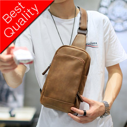 Single Shoulder Strap Packs Australia - NEW Bag Men Chest Pack Single Shoulder Strap Back Bag High Quality PU Leather Travel Men Crossbody Bags Vintage Chest Bag