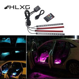 $enCountryForm.capitalKeyWord Australia - HLXG 7color Neon Strip lights with Remote control Auto RGB 12LED Strip Foot Light Atmosphere lamp car interior Decorative light