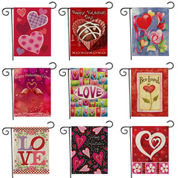 Wholesale New Party Valentine s Day Lover Garden Flag Polyester Double Side DIY Yard Hanging Flag House Garden Decoration Portable Banner HH7