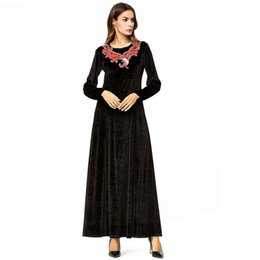 ac0f2d364d5 Womens Velvet long Dress Chic Embroidery Maxi Dresses Black Round Neck long  Sleeve Elegant Dress Lady Spring 2019