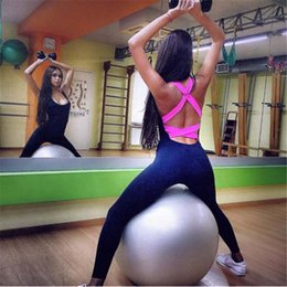 Pink Clothing Women UK - 2019 Running Sport Suit Yoga Set Jumpsuit Gym Workout Tracksuit For Women Backless Sexy Sport Wear Bodysuit Fitness Clothing Y190508