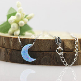 lovely chains Australia - 1pc New Fashion Synthetic Opal Blue Moon Crescent Pendant Necklace 925 silver Chain For Women Girl Cute Lovely moon opal Jewelry