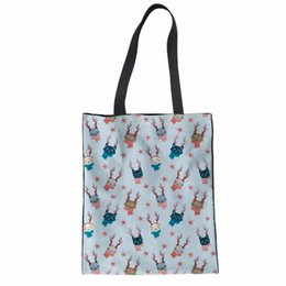 b679f9f9f NOISYDESIGNS Women Reusable Canvas Shopping Bags 3D Cartoon Cat Pattern  Print For Girls Eco Folding Pouch Recycle Storage Pouch