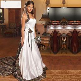 $enCountryForm.capitalKeyWord UK - 2019 Vintage Camo Wedding Dresses Sweetheart Halter Satin Cowgirls Camouflage Wedding Gowns Bridal Dresses Gowns Chapel Train H094