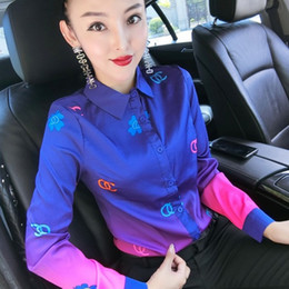 Wholesale blouse women office resale online - Luxury Sexy Slim Silk Satin Runway Shirts Women Long Sleeve Lapel Printed Neck Ladies Button Blouse Plus Size Office Designer Shirt Tops