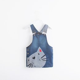 dress embroidery cat NZ - Baby Girl Clothes Denim Jumper Skirt With Lovely Cat Embroidery Decoration Side Bottom Dress Easy Fitting Play Dress
