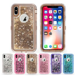 Wholesale Bling Liquid Glitter Phone Case for iPhone XS MAX XR Plus Samsung Galaxy Note J3 J7 Robot Shockproof Cover Cases