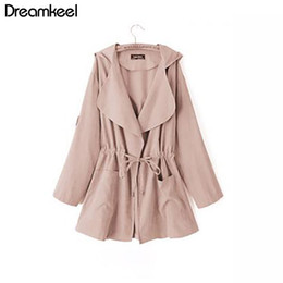 Wholesale kimonos jacket for sale - Group buy Women New Jacket Coat Autumn Long Sleeve Hooded Coat Female Loose Outwear Jacket Casual Elastic Waist Pocket Kimono Y