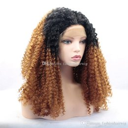 tone wigs for black women UK - A Long Afro Kinky Curly Blonde Ombre Glueless Lace Front Wigs 2 Tone Color Black Roots Synthetic Hair Wigs for Black Women 1BT30#