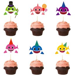 Kids Cupcake Party Australia - Baby Shark Cupcake Toppers Insert Dessert Table Cartoon Insertion Kids Birthday Party Baby Supplies cartoon Decor props FFA2029