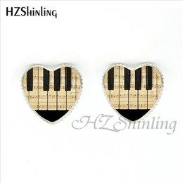 abe10cbb1 New Fashion Piano Stud Earrings Handmade Music Heart shaped Earring Glass  Dome Piano Keyboard Jewelry for Music Lover HER-0027