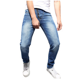 Wholesale pantalones hip hop hombre resale online – 2019 Men Stylish Ripped Jeans Pants Pure Color Zipper Denim Vintage Wash Hip Hop Work Trousers Jeans Pants pantalones hombre