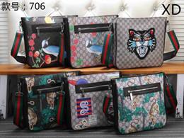 Vertical briefcase bag online shopping - New Men s High Quality Tiger Head Snake Emblem Printed Ribbon Single Shoulder Slant Bag Vertical Zipper Postman Bag Men s Briefcase