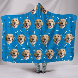 warm cozy blankets 2019 - Christmas Cat Dog Super Soft Cozy Throw Hoodied Blanket In Cap Warm Blanket For Couch Throw Travel Hooded Anime discount