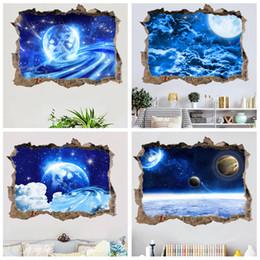 $enCountryForm.capitalKeyWord Australia - 45*60cm window 3d wallpaper PVC universe planet blue starry background 3D broken wall fake window Home Decor wall stickers 4 styles