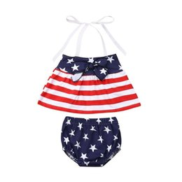Girls Tassel Shirt Australia - Independence Day Toddler Baby Girls Star Stripe Suits for USA The Fourth of July Kids National Day Wear Kids Special Occasion Clothes