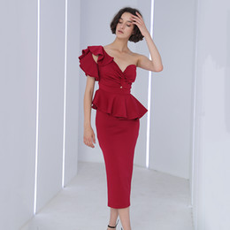 e9d2fac2f4c73d Two Piece Sets Female Off Shoulder Strapless Ruffle Crop Tops High Waist  Midi Skirt Womens Suits 2019 Elegant Style