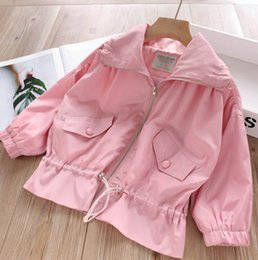 $enCountryForm.capitalKeyWord NZ - 2019 Autumn girls Princess jacket Fashion cotton lining lapel long sleeve Kids Casual outwear children pocket collect waist outwear Y2765