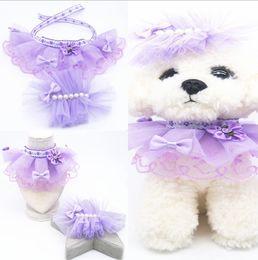 $enCountryForm.capitalKeyWord Australia - Super-large purple lace dress with pet saliva towel and Dog Costume Accessories