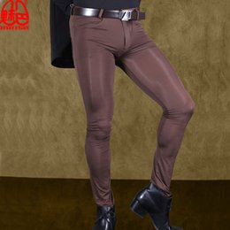 $enCountryForm.capitalKeyWord NZ - Sexy Men Transparent Pants Ice Silk See Through Elastic Tight Trousers Silky Pencil Pants Erotic Lingerie Club Gay Wear F90