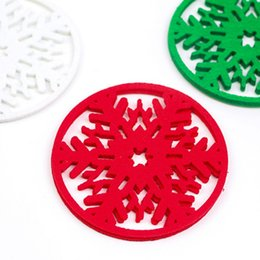 white snowflake tree decor Australia - 10pcs Red Christmas Snowflake Coasters Non-woven Place Mat Insulation Mat Merry Christmas Decorations Cup Pad Dinner Party Decor