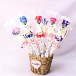 Cute Bear Rose Flower Soap Party Surprise Valentines Day Gifts Romantic Wedding Birthday Favor Dolls 2000pcs AAA1605