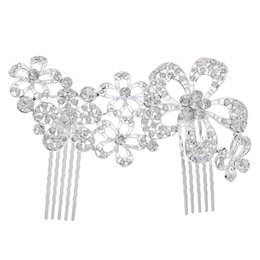 China Wedding Party 12x8cm hairpins beaded flower leaf headwear of bride crown diamond headwear for bride acting initiation graduation RS-135 suppliers
