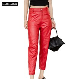 ladies black leather trousers UK - New Large Size Natural Sheepskin Real Leather Pants Women Genuine Leather Trousers Lady Black Red Gray Fashion Slim Pencil Pants