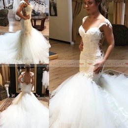 $enCountryForm.capitalKeyWord Canada - 2019 Beaded Crystals Spaghetti Straps Mermaid Wedding Dresses For Brides See Through Appliques Lace Bridal Gowns Custom Made robe de mariee