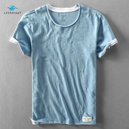 bamboo tees Australia - Men Summer Fashion Brand Japan Style Bamboo Cotton Solid Color Short Sleeve T-shirt Male Casual Simple Thin White Tee Tshirts Y200409