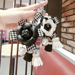 Resin Rose floweR Ring online shopping - Korean New Rose Flowers Key Chain Pearl Key Chains Ribbon Bow Chain Tassel Ring for Women Bag Car Pendant Jewelry Gifts