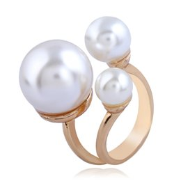 pearl ring white gold UK - Korean Simple Gold Pearls Balls Ring Anniversary Wedding Party Bridal Finger Ring Fashion Jewelry Accessory Gifts For Women