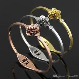 Stainless Steel Flowers Australia - New fashion Cuff Bracelets 18k Rose Gold camellia single crystal Bangles for women stainless steel flowers Bracelet pulsera
