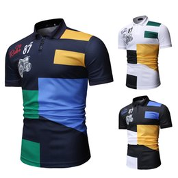 brand mens polo NZ - Men Summer Contrast Color Polo Shirt New Short Sleeve Mens Polo Shirts Brand Design Slim Fit Cotton Polo Homme Camisa 1801-T531