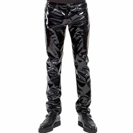 $enCountryForm.capitalKeyWord Australia - Punk Gothic Man Pants Sexy Wetlook Latex Vinyl Zipper Trousers Men Black Faux Leather Pole Dance Gay Fetish Pantalones Hombre