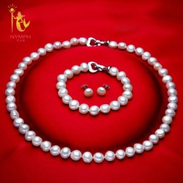 $enCountryForm.capitalKeyWord Australia - [nymph] Genuine Baroque Pearl Jewery Sets Natural Freshwater Pearl Necklace Bracelet Earrings 8-9mm Fine Jewelry [t1010] J190628