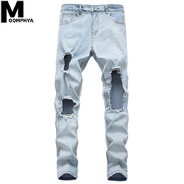 Wholesale big men ripped jeans resale online - Moomphya Distressed Big Holes Skinny Jeans Men Streetwear Ripped Jeans For Men Denim Trousers Stylish Blue