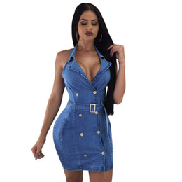 Wholesale Pydownlake Women Retro Dress for Summer Denim Clothing Sexy Sleeveless Deep V Club Mini Cowboy Jeans Women Dresses with Belt