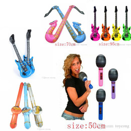 Party inflatable guitars online shopping - Party Balloons toys Music inflatable toys model teaching AIDS microphone guitar speakers inflatable children s toys are welcome to buy