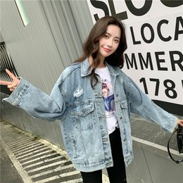 Wholesale woman coats china for sale – winter 2019 autumn and winter new China retro street blue hole denim jacket female long sleeved lapel fashion cotton coat woman