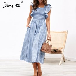 Summer Street Fashion Vintage Dresses Australia - Simplee Vintage striped women long dress Ruffle linen blue elegant summer dress 2019 Casual cotton fashion female beach vestidos T19053005