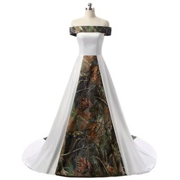 Courting Dress UK - Customized A-line Women White Camo Printed Tree Style Women Wedding Dress Off the Shoulder Satin Long Bridal Gowns 2019