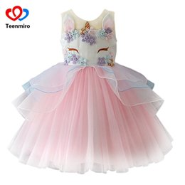 ball gowns colour NZ - Fancy Kids Unicorn Tulle Dress For Girls Embroidery Ball Gown Baby Flower Girl Princess Dresses Wedding Party Costumes Unicornio J190506