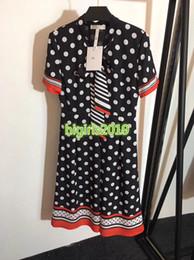 Girls Polka Dotted Shirt Australia - women girl bow shirt dress polka dot striped crew neck short sleeve a-line pleated trumpet midi skirt high end fashion luxury runway dresses