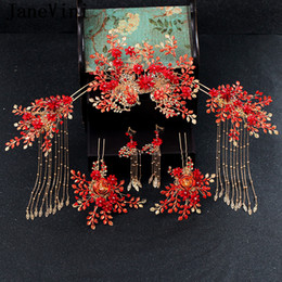 Chinese Hairpins Australia - JaneVini New Luxury Chinese Style Wedding Hair Accessories Gold Long Tassels Princess Crown Red Hairpins Bridal Jewelry Accessories 2019